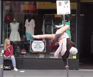 Hot Grandma Dancing On A Street Pole