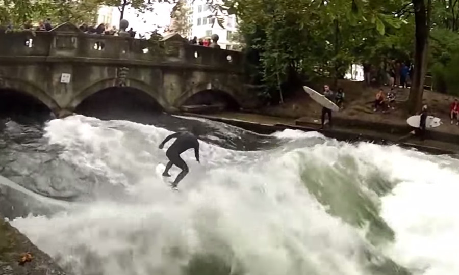 River Surfing in Munich, Germany, during Oktoberfest